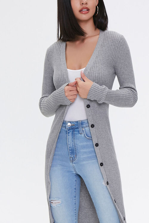 Ribbed Longline Cardigan Sweater, image 4