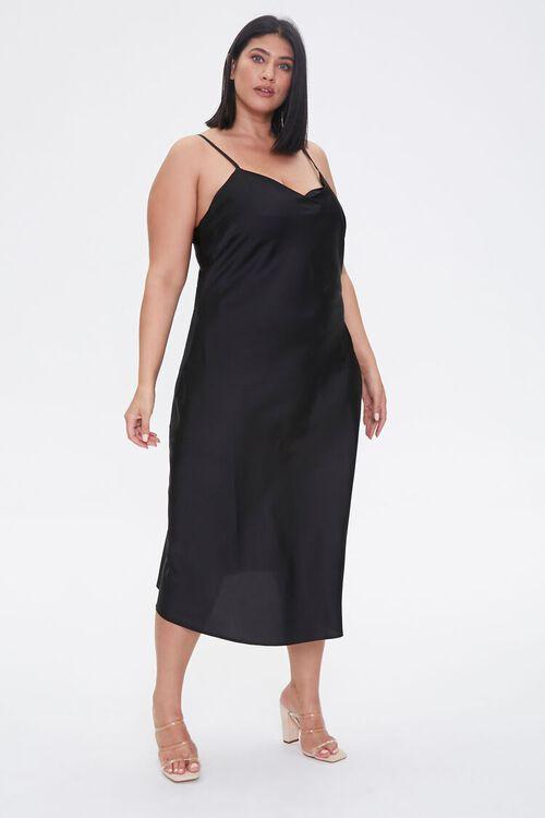 Plus Size Satin Midi Slip Dress, image 2