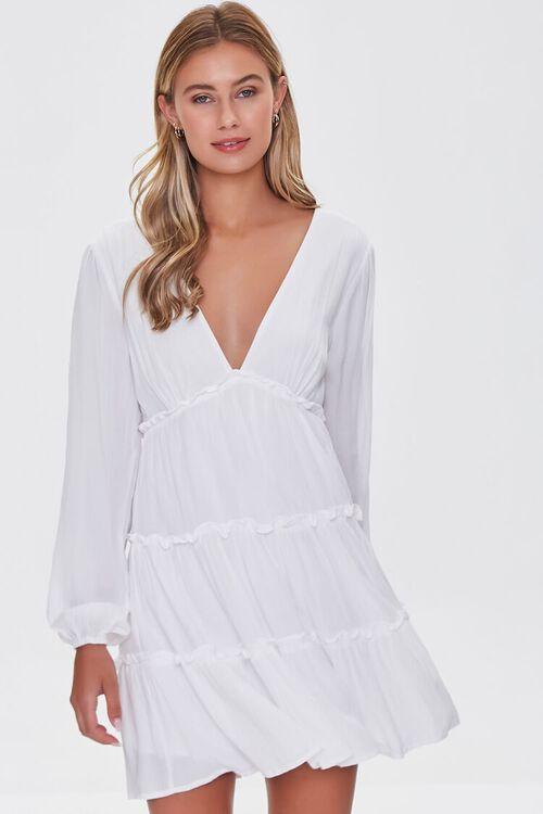 IVORY Ruffle-Trim Mini Dress, image 1
