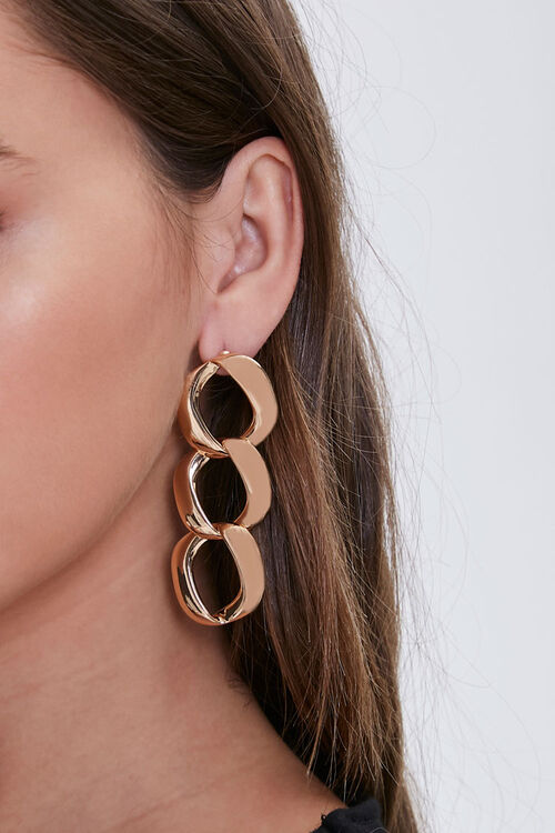 Curb Chain Drop Earrings, image 1