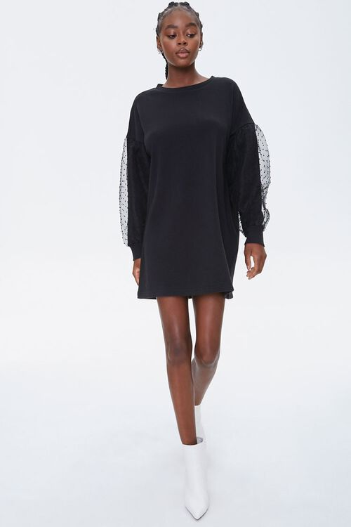 Clip-Dot Balloon-Sleeve Sweatshirt Dress, image 4