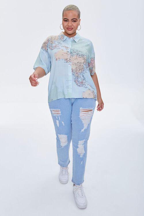 Plus Size Map Print Shirt, image 4