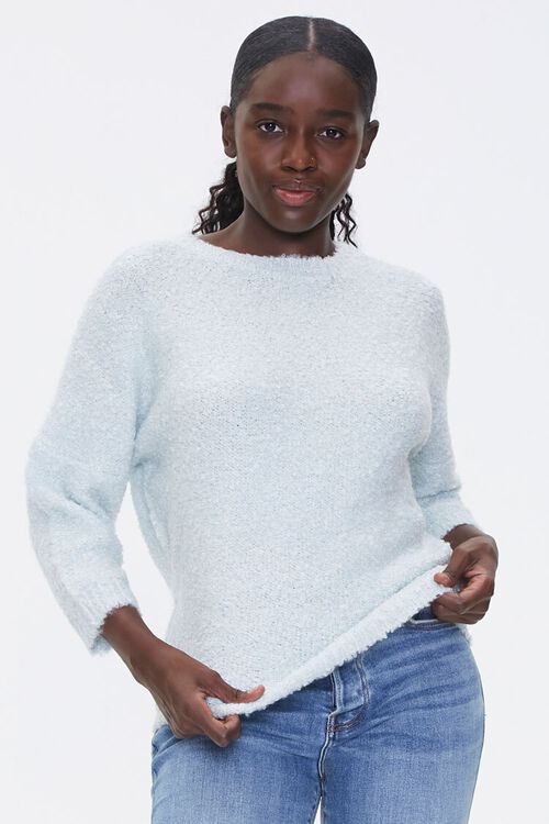 Fuzzy Crew Neck Sweater, image 1