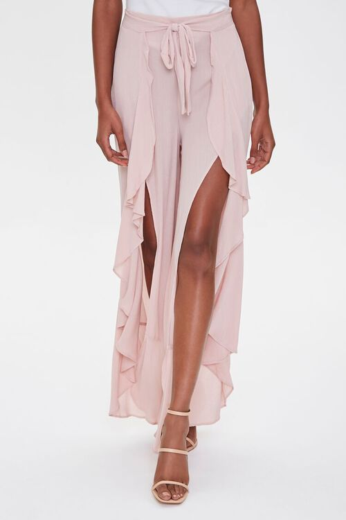 Crinkled Wrap-Front Ruffle-Trim Pants, image 2