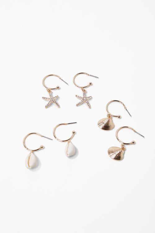 Seashell Charm Hoop Earring Set, image 1