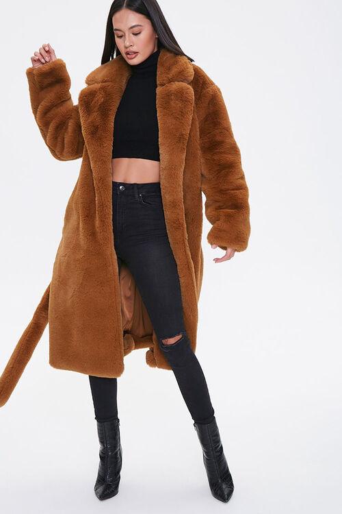 Faux Fur Longline Coat, image 1