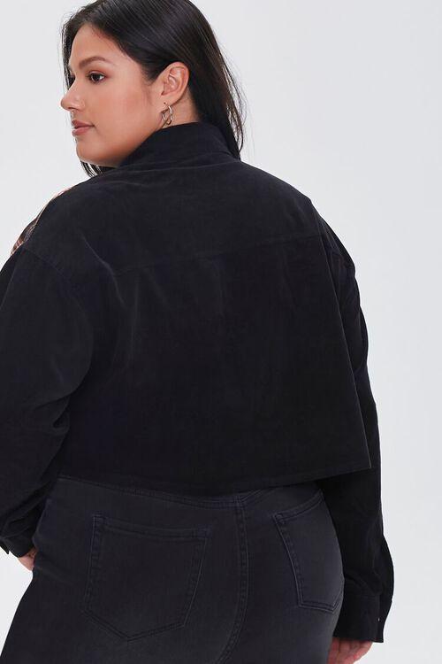 Plus Size Cropped Corduroy Plaid Shirt, image 3