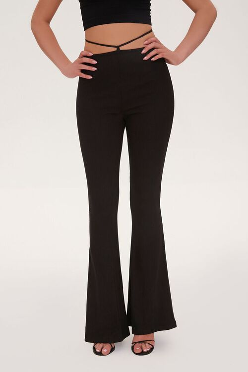 Ribbed Knit Self-Tie Flare Pants, image 2