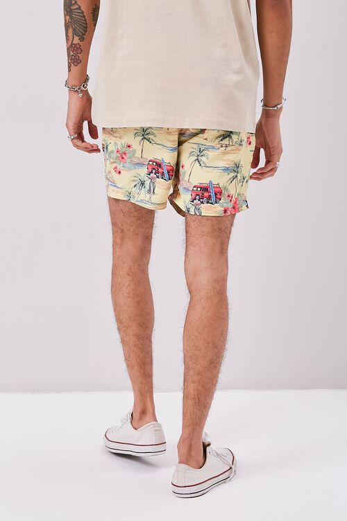 Tropical Print Swim Trunks, image 4