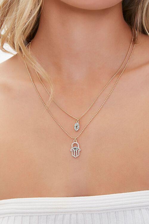 Hand & Eye Charm Layered Necklace, image 1