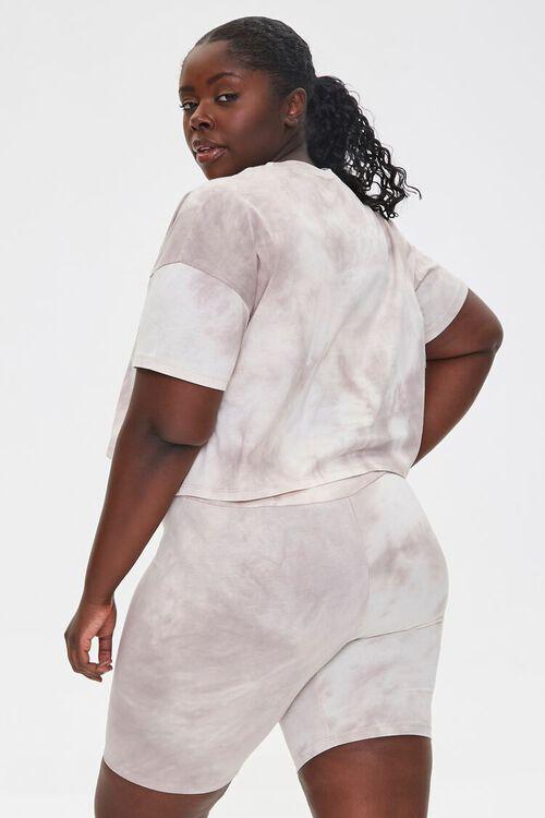 TAUPE/CREAM Plus Size Camo Tee & Shorts Set, image 3