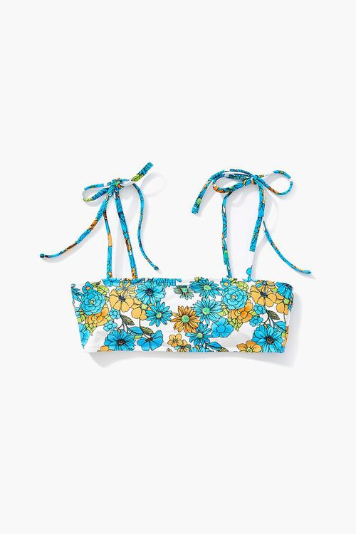 Floral Tie-Strap Bikini Top, image 5