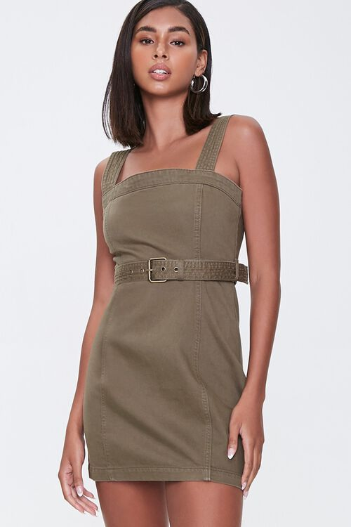 OLIVE Belted Twill Mini Dress, image 1