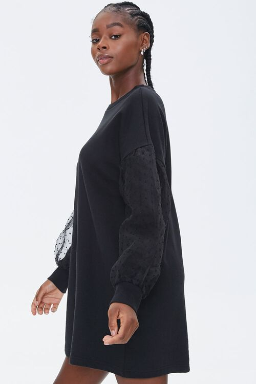 Clip-Dot Balloon-Sleeve Sweatshirt Dress, image 2