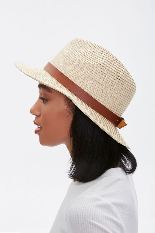 Faux Straw Buckled Fedora, image 2