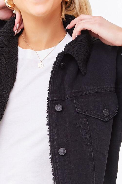 BLACK/BLACK Faux Shearling-Lined Denim Jacket, image 5