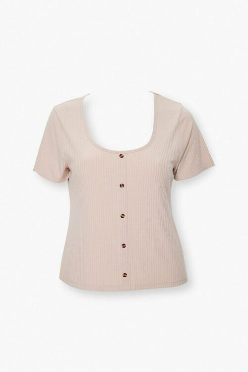 Plus Size Ribbed Button-Front Top, image 1