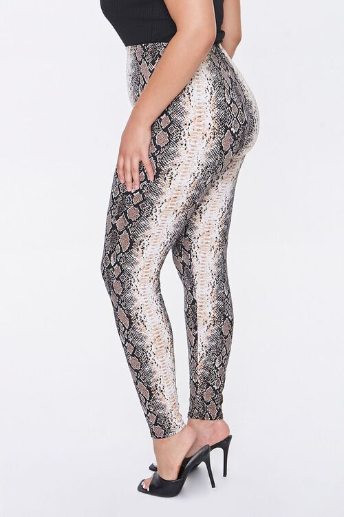 Plus Size Snake Print Leggings, image 3