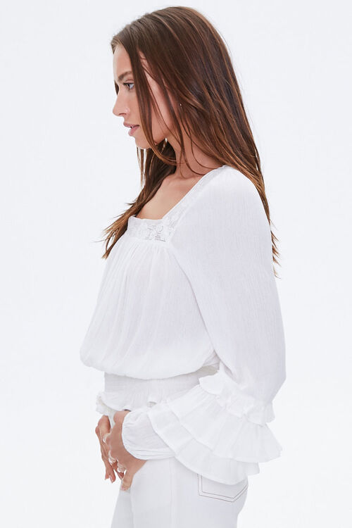Crochet-Trim Ruffled Peasant Top, image 2