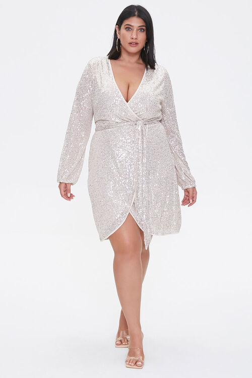 Plus Size Glittered Wrap Dress, image 4