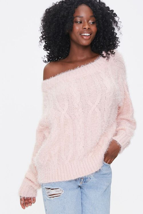 Fuzzy Boat Neck Sweater, image 1