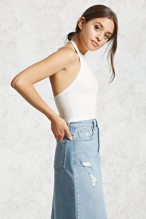 Cropped Ribbed Knit Halter Top, image 2