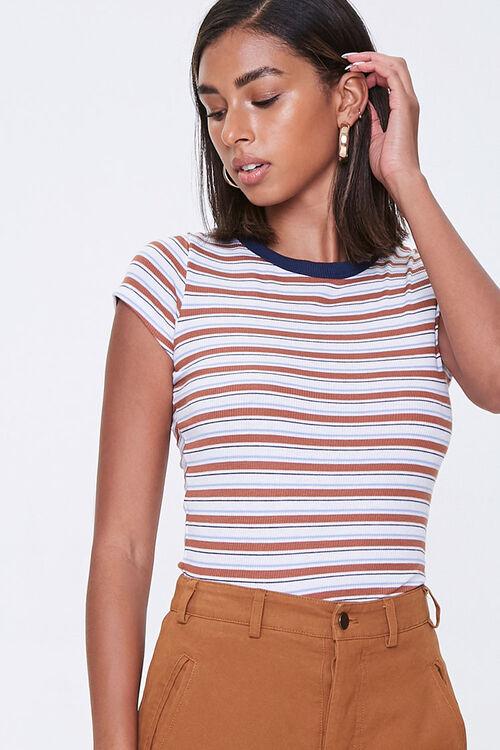 Striped Rib-Knit Tee, image 1