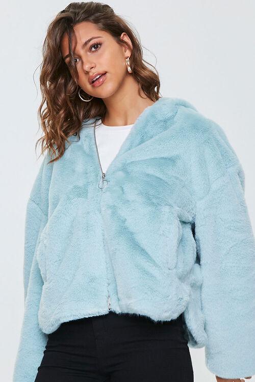 Plush Faux Fur Zip-Up Hoodie, image 1
