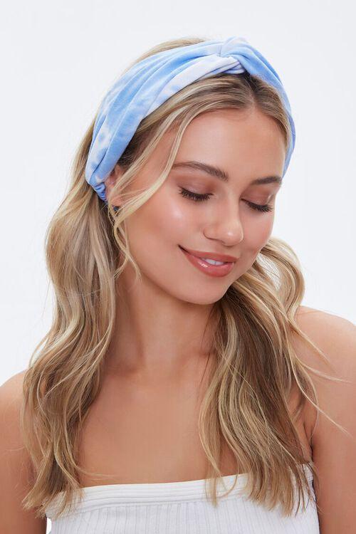 BLUE/MULTI Twisted Tie-Dye Headwrap, image 1