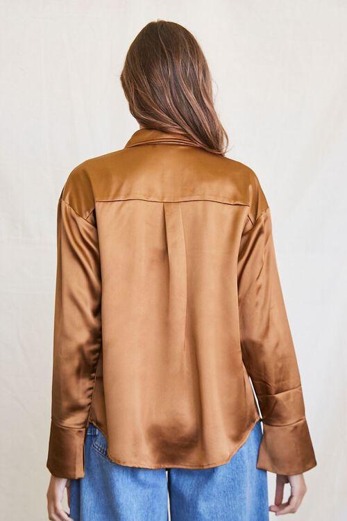BROWN Satin Cropped Cami & Shirt Set, image 3