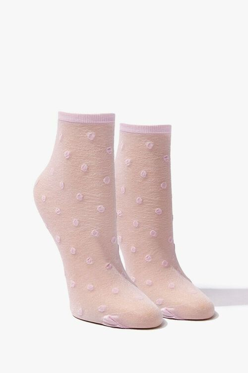 Polka Dot Mesh Crew Socks, image 1