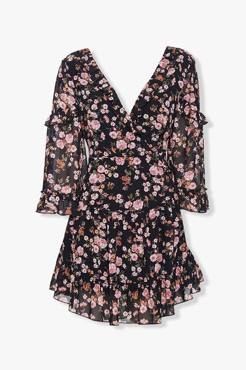 Chiffon Floral Lace-Up Dress, image 1