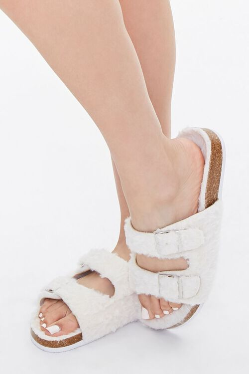 Buckled Faux Fur Sandals, image 1