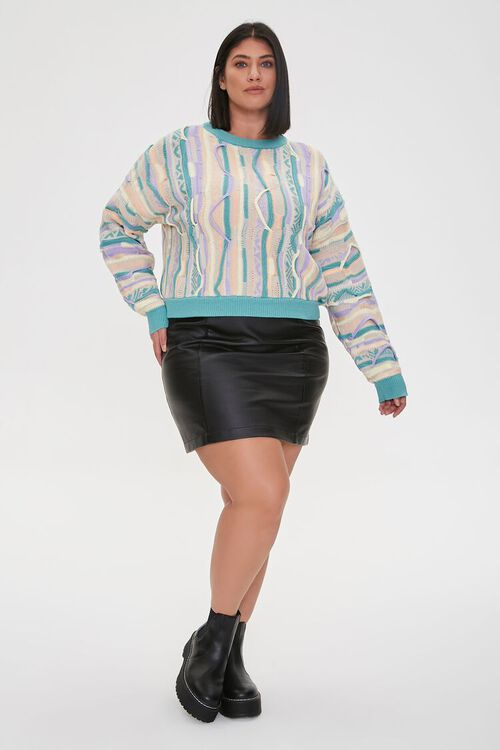 Plus Size Multicolored Cable Knit Sweater, image 4