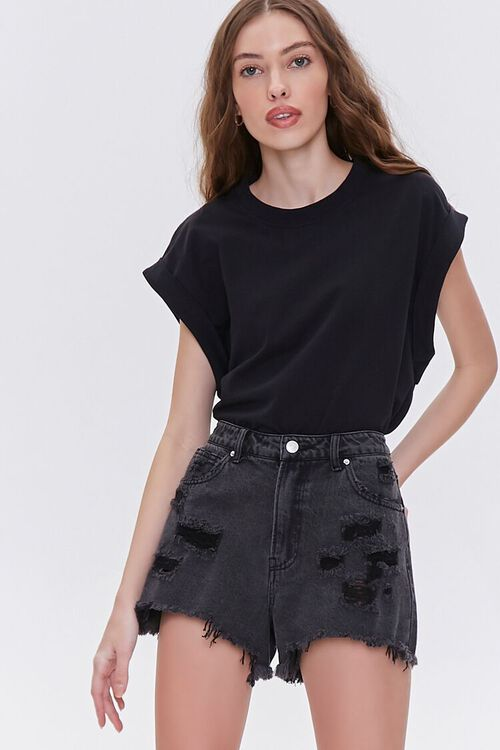 Distressed Denim Shorts, image 1