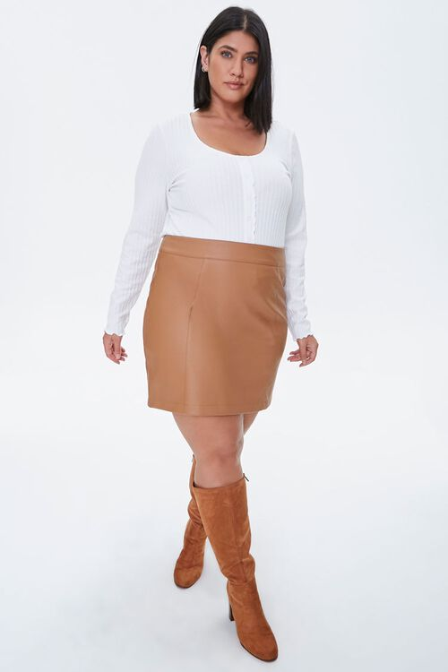 Plus Size Ribbed Lettuce-Edge Top, image 4