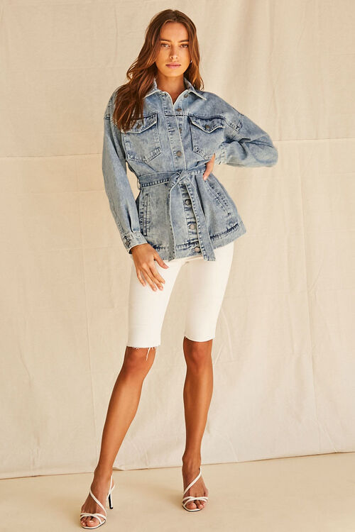 Longline Belted Denim Jacket, image 4