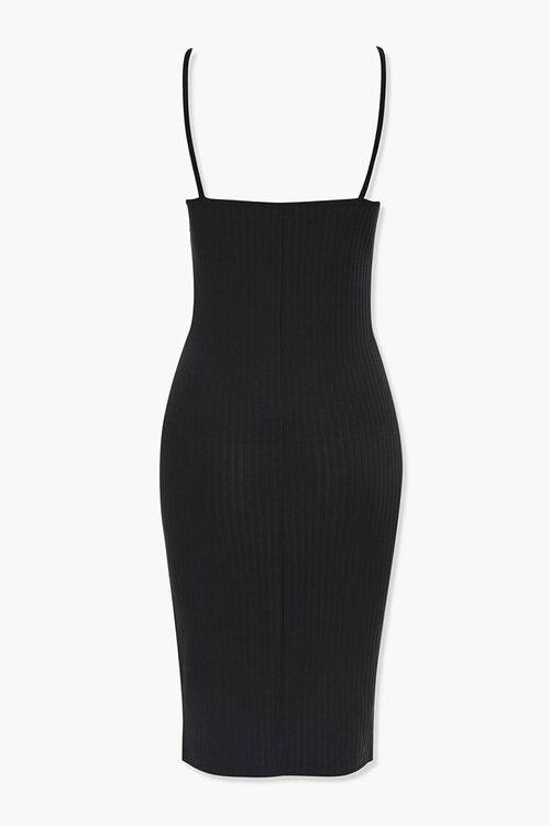 BLACK Ribbed Bodycon Dress, image 3