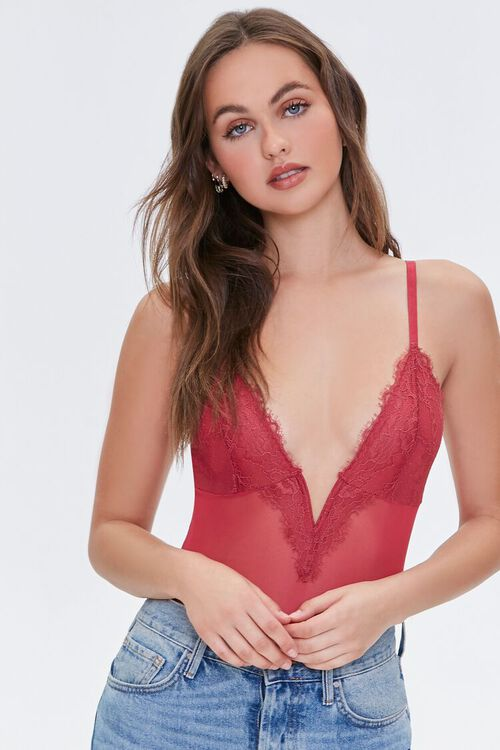 SUNSET Lace Sheer Mesh Teddy, image 2