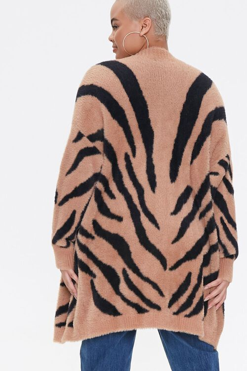 Plus Size Tiger Striped Cardigan Sweater, image 3