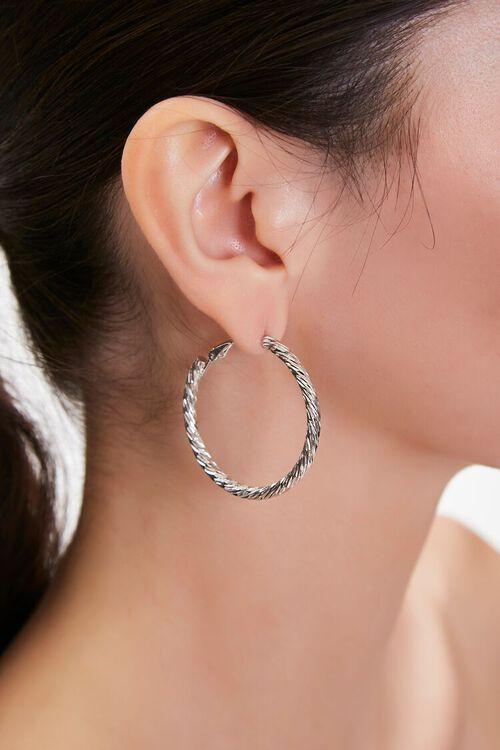 SILVER Etched Hoop Earrings, image 1