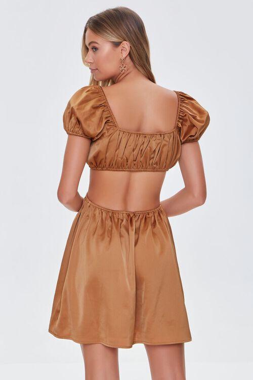 CHESTNUT Satin Puff Sleeve Mini Dress, image 3