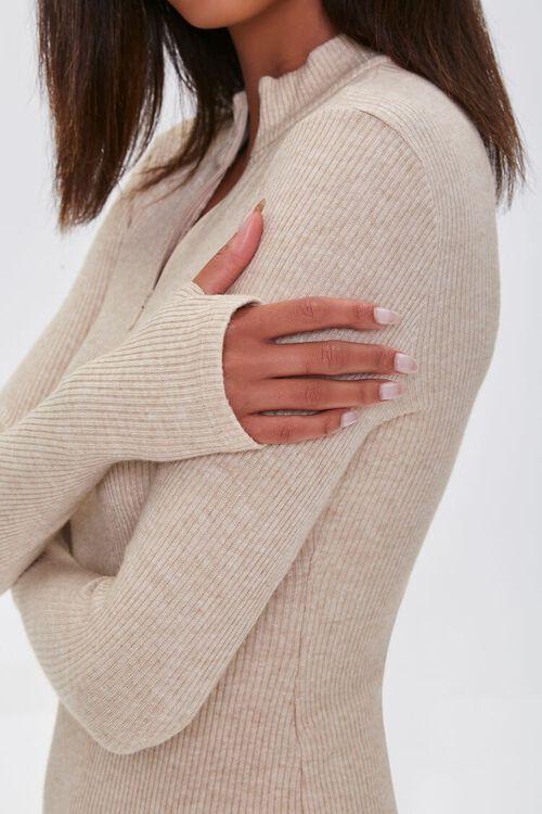 TAUPE Heathered Ribbed Knit Mini Dress, image 5