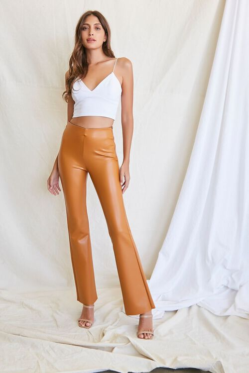 CAMEL Faux Leather Flare Pants, image 1