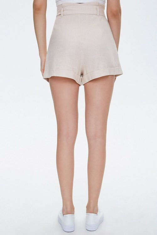 BEIGE Cuffed Belted Paperbag Shorts, image 4