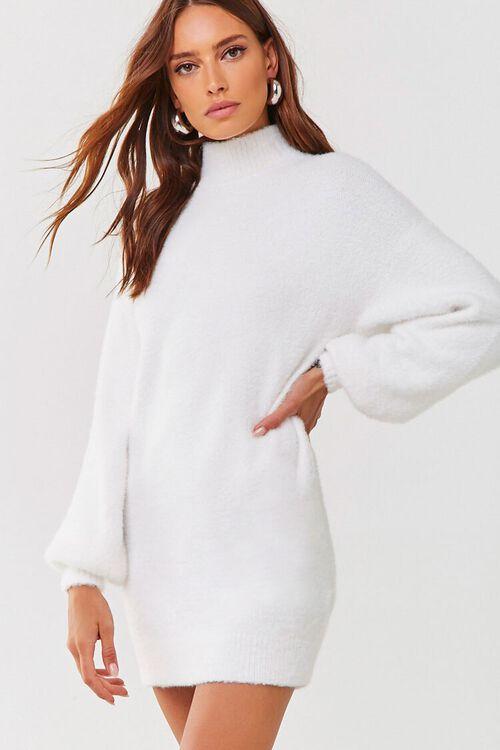 Fuzzy Knit Sweater Dress, image 1