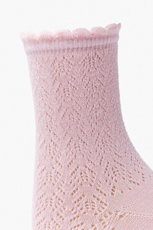 Lace Knit Crew Socks, image 2