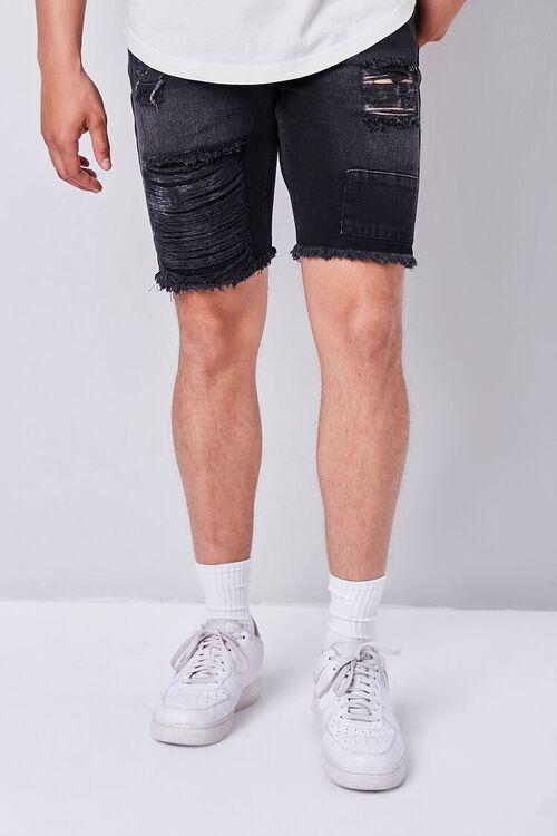 Distressed Frayed Denim Shorts, image 1