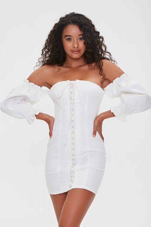 Off-the-Shoulder Lace-Up Dress, image 2