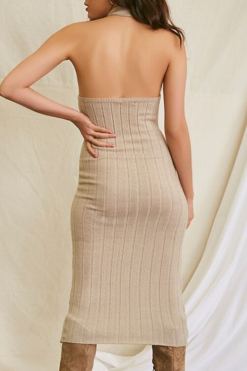 TAUPE Sweater-Knit Ribbed Halter Midi Dress, image 3